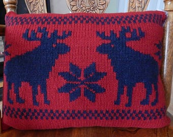 UpCycled Wool Sweater Pillow, Red with Navy Moose