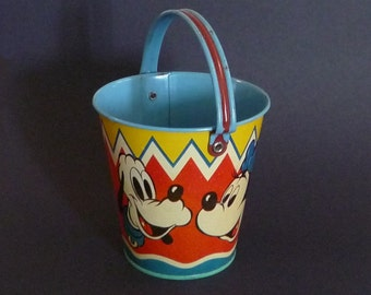 Vintage Disney Happynak Sand Pail, Tin-Plate Seaside Bucket, Mickey Minnie Mouse, Goofy, Donald Duck, Antique Collectable Beach Toy