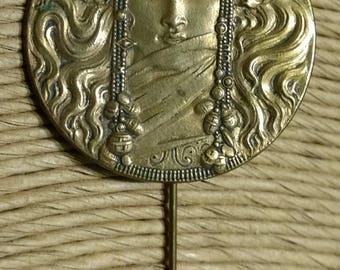 Vintage Art Nouveau or Art Deco Metal Bronze Finish Ornate Woman goddess Pin