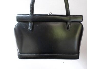 Vintage Handbag Black leather 1950's Kelly style Metal A Frame