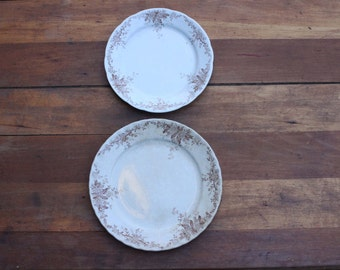 Pair Antique Brown and White English Ironstone Transferware Plates, Mellor Taylor, Caledonia