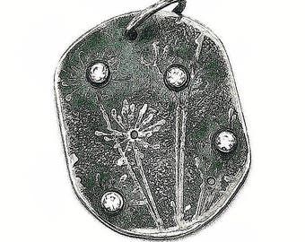 Sterling and CZ botanical print on dog tag necklace. Handmade exclusively at Metal Dance Jewelry in Atl Georgia by Susan Wachler.