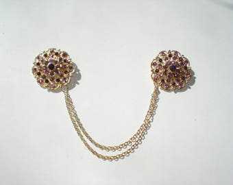 Purple and Gold Sweater Guard - Vintage style - Cardigan Chain - Costume Jewelry Round Brooches