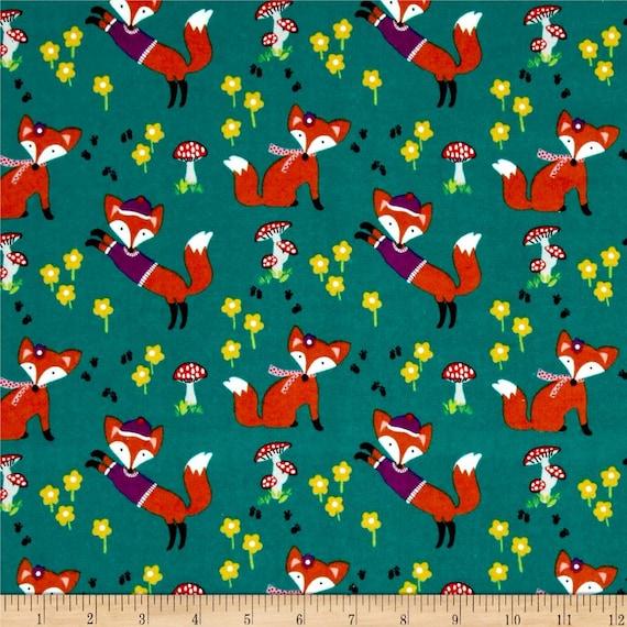 Woodland fabric by the yard fox nursery flannel quilting for Baby nursery fabric yard