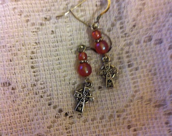 Apricot Czech beads and silver pierced earrings with Celtic knots on Celtic Cross charms