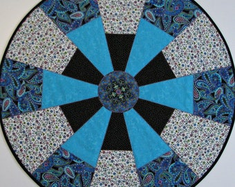 Round Quilted Table Topper, Ornate Floral Table Mat, Turquoise Black Cream Gold Rose, 26.75 inches, Quiltsy Handmade