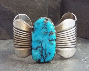 Navajo Turquoise Cuff Bracelet  Native American Silver Jewelry  By BCT