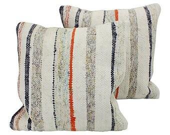Striped Turkish Kilim Throw Pillows + Feather Inserts, Pair