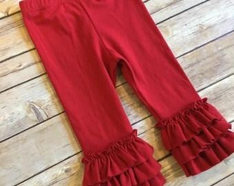 Red Ruffled Leggings for baby, toddler, girls. Christmas, holiday pants