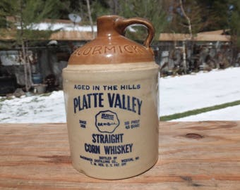 McCormick-Platte Valley Straight Corn Whiskey Jug with Original Label and Cork