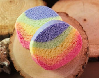 Bath Truffles, rainbow bath, mini bath truffle, cocoa butter, shea butter, bath fizzy, bubble bath, bubble bar, palm free, sls free,