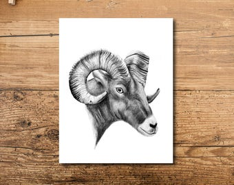 Cabin Decor - Mountain Cabin Decor - Colorado Cabin Decor - Animal Cabin Decor - Ram Cabin Decor - Cabin Art - Animal Cabin Art Print - Ram
