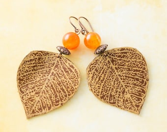 Leather Leaf Earrings in Brown and Copper with Orange Stone Beads, Leather Leaf Jewelry