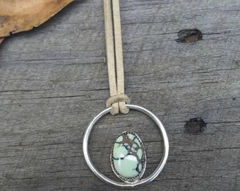 Halo necklace, poseidon variscite and sterling silver