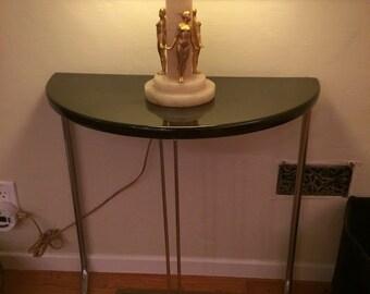 Vintage Black Lacquer/Chrome Art Deco Half Round Console Table
