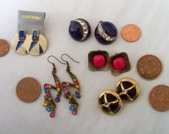 Set of Vintage Costume Jewellery Earrings - Vintage Stud Earrings - Pierced Ears - Vintage Earring Job Lot - Costume Jewelry -  Earring Set