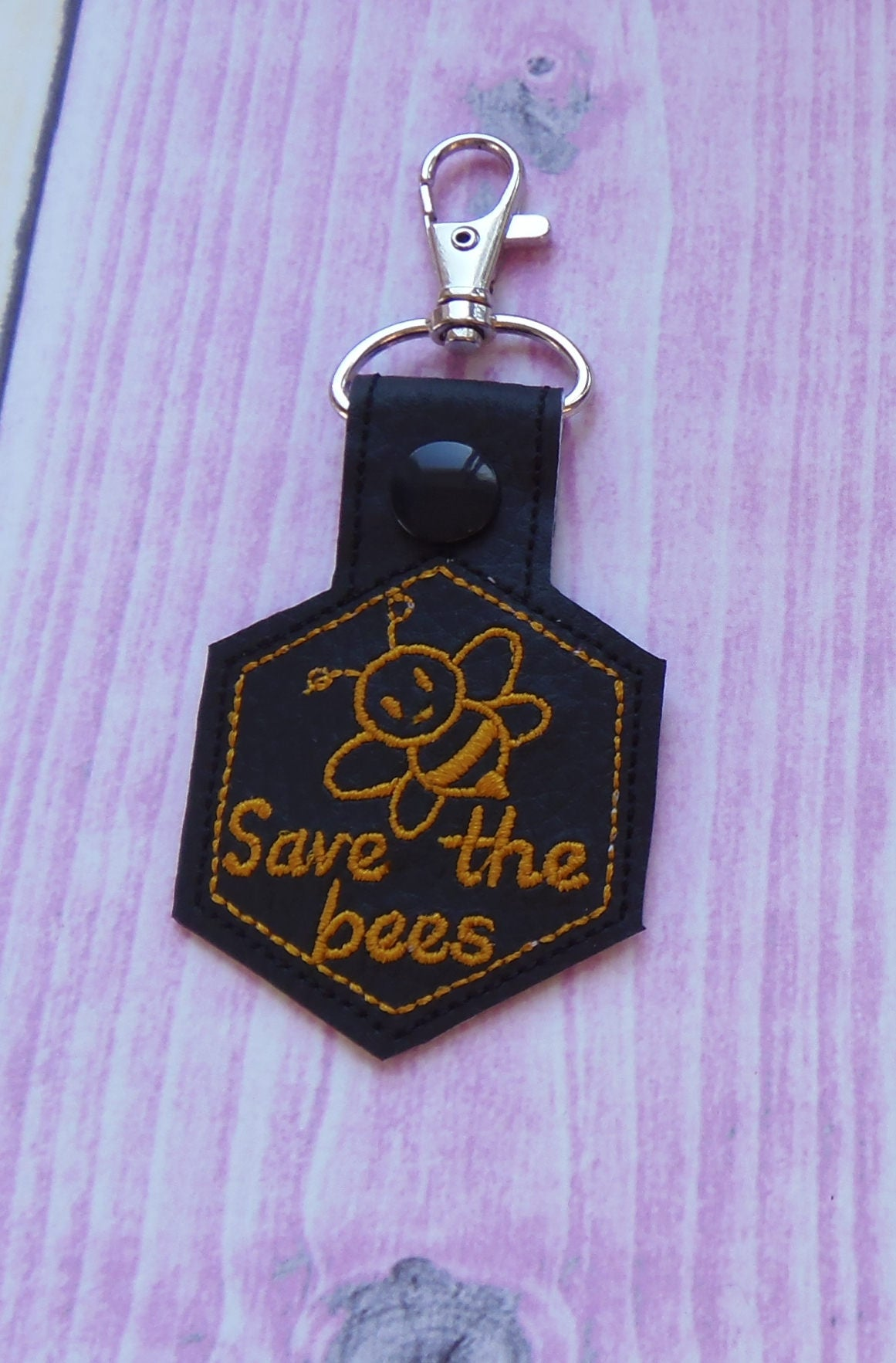 Save the bees snap tab in hoop machine embroidery