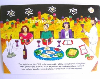 4 Messianic Passover cards