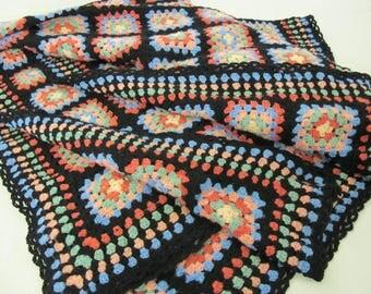 Hippie Afghan Throw Blanket Boho Hippie Afghan Multicolor Afghan Granny Square