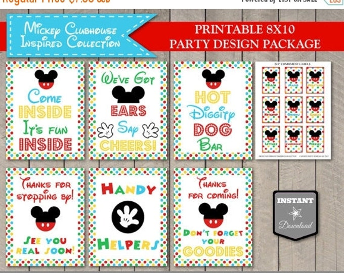 SALE INSTANT DOWNLOAD Mouse Clubhouse Inspired 8x10 Party Sign Package/ Free Condiment Labels / Clubhouse Collection / Item #1601