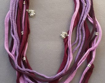 SALE!!! Violet wisteria purple t shirt FABRIC soft MULTISTRAND necklace BuTTerFLY silver charms nickel free