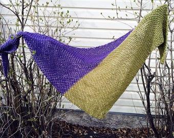 SALE Purple Shawl - Green Shawl - Olive Shawl - Knit Shawl - Purple and Green Scarf - Textured Scarf - Two Colored Scarf - Two Colored Shawl