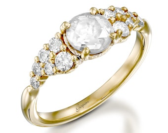 Old Cut Vintage Engagement Ring, Antique Ring, Yellow Gold Ring, Unique Engagement Ring, Old Cut Diamond Ring, Designer ring, Original Ring