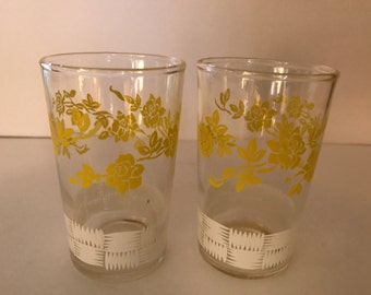 Vintage Pair (2) White and  Yellow Floral Swanky Swigs Juice glasses