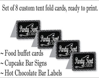 "Custom Food Bar Printable 2 Sheets of 8 Folding 2.5X2"" Tent Cards  Ingredients Labels Holiday Christmas Party Winter Wedding New Year's Eve"