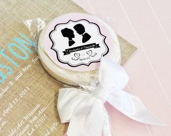 24+ Vintage Design Wedding Personalized Lollipop Favors - Lollipop Wedding Favors Bride and Groom (EB2131WV)
