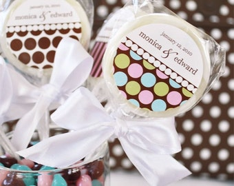 24+ Something Sweet Dots and Stripes Personalized Lollipop Favors - Edible Party Favors (EB2125)