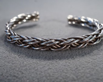 vintage sterling silver fashion bangle cuff bracelet with woven braided styling, 27 grams   M1