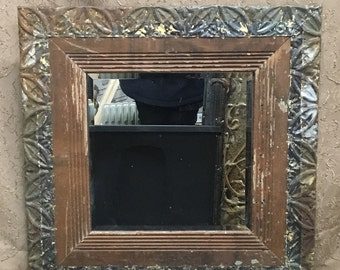 Vintage Wainscoat and Ceiling Tin Mirror.