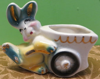 Original 1950's Bunny Rabbit Pushing A Wagon Ceramic Planter - Free Shipping