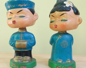 "Original 1950's Asian Boy And Girl Kiss Me 6"" Bobble Head Nodder Set - Mico Japan - Free Shipping"