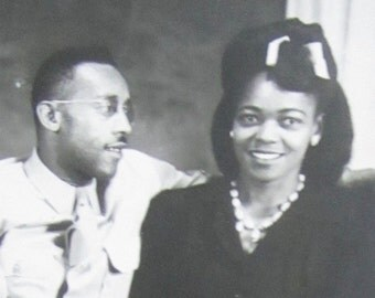 Cute 1940's Young Black African American Couple World War II Era Staff Sergeant Photo - Free Shipping