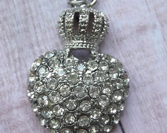 Silver Crystal Heart Pendant With Crown Jewelry Supplies