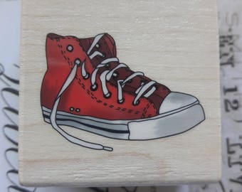 High Top Sneaker Wood Mounted Rubber Stamp Scrapbooking & Paper Craft Supplies