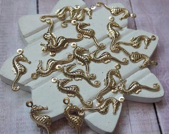 Gold Seahorse Charms Jewelry Making Supplies