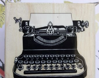 Vintage Typewriter Wood Mounted Rubber Stamp Scrapbooking & Paper Craft Supplies