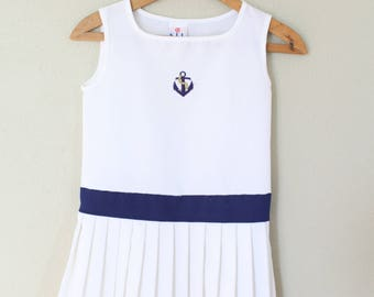 vintage white & navy blue nautical pleated firls summer dress