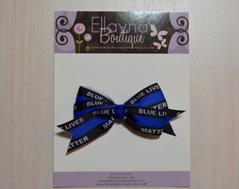 Boutique Style Hair Bow - Back the Blue