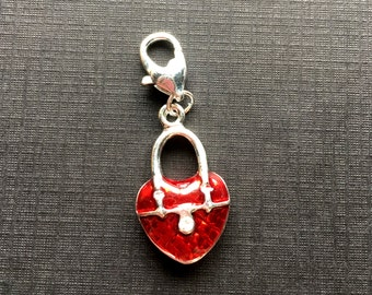 Heart Charm/Clip/Pendant-Red and Silver