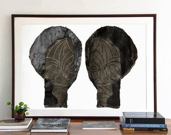 Two Silver and Black Silhouettes, Large Giclee Art Print, 50 x 70 Dark Gray Poster, Mixed Media Collage,