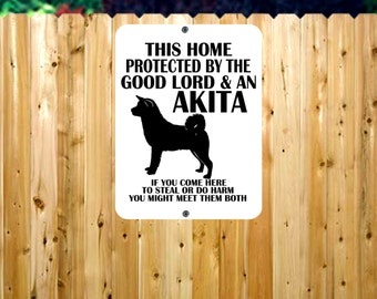 Dog Owner Metal Sign/Protected by Dog Metal Sign/Beware of Dog Sign/Akita Metal Sign/Home Protected by Dog/Dog Sign