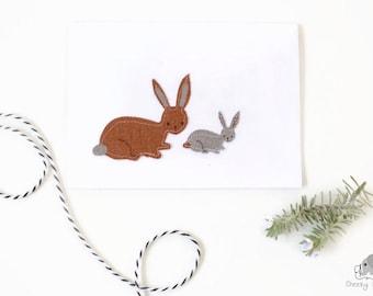 Easter card, woodland card, hand sewn woodland card, woodland bunny rabbit card, handmade card, handstitched card, greeting card blank