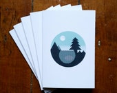 A6 Notebook, Forest, Geometric, Mountain, Outdoors, Adventure, Camping Journal by OR8 DESIGN