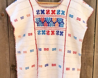Vintage Oaxacan Huipil Embroidered Blouse