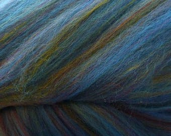 Dyed Merino - Baltic- Multicolor commercial dyed - combed top roving spinning felting fiber fibre arts - blue green