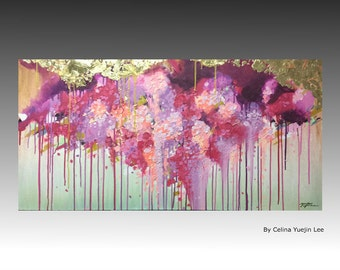 """Original Textured Abstract Contemporary landscape Arcrylic pink purple gold Painting on canvas. """"Pink,Pruple and flowers01"""" 48""""×24"""""""